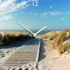 Uhr Wanduhr Glasuhr Glasbild 30X30 Meer Himmel Dünen Strand Gräser : Art. 05