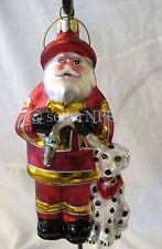 Santa Fireman Firefighter with Dalmation Dog Glass Glittered Christmas Ornament