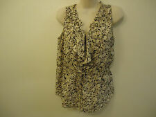 Rebecca Taylor Anthropologie 100% Silk Sleeveless Floral Ruffle Top Size 4