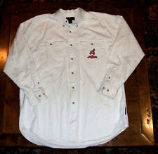 Cleveland Indians Embroidered Button Front Long Sleeve XL Shirt Antigua Cotton