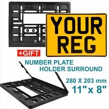 SQUARE PRESSED CAR number plate 4x4 11x8 100 Legal Rear Yellow + surround holder