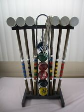 Vintage Wooden 6-PLAYERS Croquet Set w/ Stand Mallets, Balls ,Wickets + COMPLETE