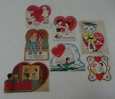 Vintage Valentine Cards mixed Lot of 7 sweethearts kitten sailing hearts Usa