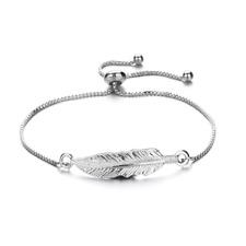 Silver Adjustable Ladies Women Girl Leaf Fashion Jewelry Bracelet Gift Present
