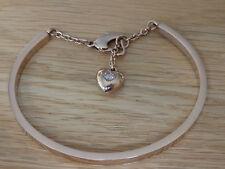 rose gold love heartclasp  hanging heart  stainless steel bracelet