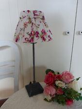 Lampe Tischlampe Rosi Schirm Schleife rund Rose auf weiß H45 Ø20cm Landhaus E27