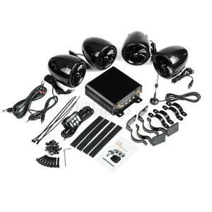 1000W Amp bluetooth Motorcycle Stereo Waterproof 4 Speakers Audio Radio