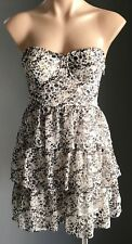 Sassy GUESS Brown/White/Beige Floral Strapless Bustier Tier Dress Size S (8)