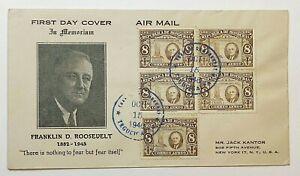 1946 Tegucigalpa Honduras Roosevelt Memoria Registered First Day Cover New York