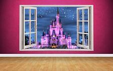 Beautiful Fairytail Castle Window Scene 3D style wall art Sticker