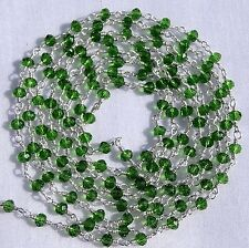 5 Feet Beautiful Chrome Diopside Hydro Faceted Beads Vermeil Rosary Chain Sale.