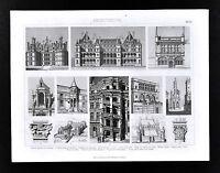1874 Bilder Print Domestic Architecture France - Château de Madrid Boulogne etc.