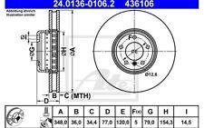 ATE Juego de 2 discos freno Antes 348mm ventilado para BMW Serie 5 6