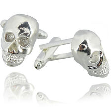 Mens Pirate Skull Cufflinks -Chrome Silver- Fancy Dress Party Wedding Suit Cuffs