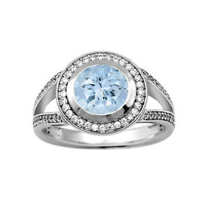 Solitaire 7 MM Round Aquamarine 925 Sterling Silver Proposal Ring