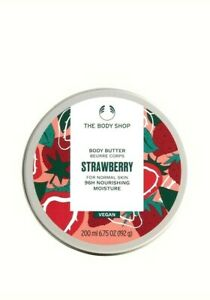 THE BODY SHOP Strawberry Softening Body Butter 200ml – 96HR MOIST – VEGAN