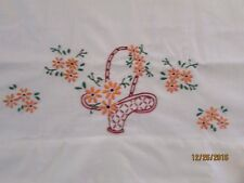 Vintage Single Hand Embroidered Daisies in a Basket Pillowcase
