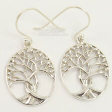 PLAIN NO STONE 925 Solid Sterling Silver Jewelry Charming TREE OF LIFE Earrings