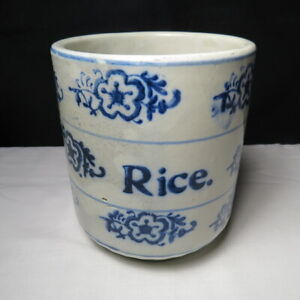 """Vintage Blue and White Stoneware Rice Canister 5 3/4""""  Tall"""