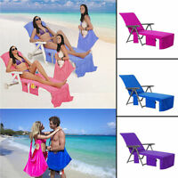 Sun Lounger Beach Towel TOWELLING Lounger Mate for Holiday with 4 Pockets & ZIP
