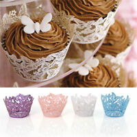 25-100 Lace Laser Cut Cupcake Wrapper Liner Butterfly Paper Baking Cup Muffin UK