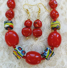RED CORAL BEAD, 4 UNUSUAL VINTAGE AFRICAN TRADE BEAD necklace, earrings 18""
