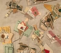 Handmade Paper 20 Embellished Buttons Clusters Bead Snippet Scrappy Junk Journal
