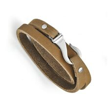 Chisel Stainless Steel Light Brown Leather Wrap Fish Hook Clasp Bracelet 24""
