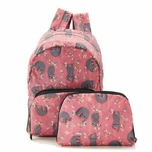 Eco Chic 100% Recycled Foldabe Sloth Print Mini Backpack