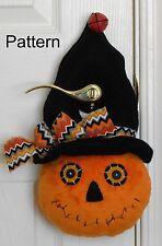 PATTERN Primitive Raggedy Jack Pumpkin Door Decor # 82 Halloween Folk Art Doll