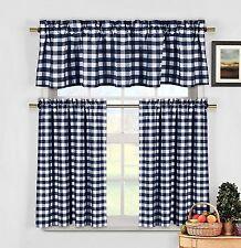 lovemyfabric Gingham Checkered Plaid Design 3-Piece Kitchen Valance-Navy Blue