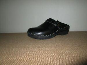 TROENTORP Bastad Black Shiny Leather Swedish Raphael Slip-On Clogs Size 39