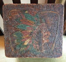 Flemish Art Co New York Etched Wood Native American Indian Chief Box ANTIQUE