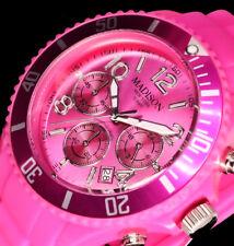 Madison New York Damenuhr Armband Uhr Pink 10 Atm Chronograph Stoppuhr Silikon