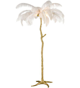 Ostrich Bird White Feather Floor Lamp Brass Regency Coastal Glam Palm Tree Mod