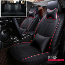 Deluxe Edition Car Seat Cover 5-Seats Front+Rear Seat Cushion PU Leather+Pillows