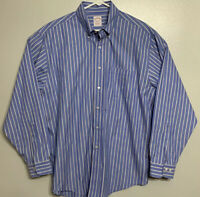 Brooks Brothers Relaxed Fit Long Sleeve Dress Shirt Mens Size L Blue Tan Striped