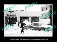 OLD LARGE HISTORIC PHOTO OF COLUMBUS OHIO THE SUNOCO OIL Co GAS STATION c1950