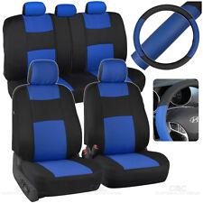 Car Seat Covers Steering Wheel Cover Blue Black 5 Headrests Split Option Bench