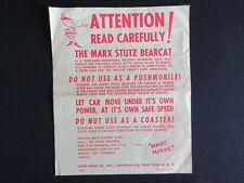 1960 MARX Toys STUTZ BEARCAT Play Vehicle Original Advertising Poster RARE