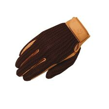 Crochet Riding Gloves Brown Adult Size 8 Classic Style Leather Cotton Mesh