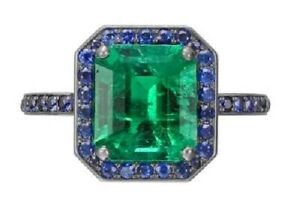 Green Emerald 925 Sterling Silver Blue Round Halo CZ Handmade Fine Ring Gift her