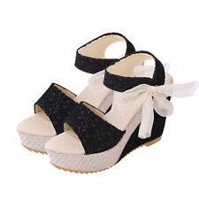 Para mujeres Damas Verano Sandalias Tacones Altos Peep Toe Cuñas Tie Up Zapatos