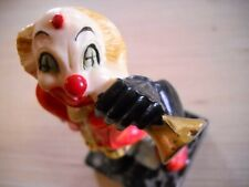 """Fontaini Clown Figurine Playing Horn made in Italy Red Coat Marble Base 6"""""""