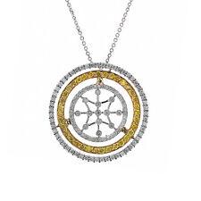 2.00 Carat Fancy Yellow & White Round Diamond Triple Circle Pendant on Cable Cha
