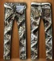 Snakeskin Denim Trousers Mens Straight Fashion Casual Pants HOT Sale Skinny New