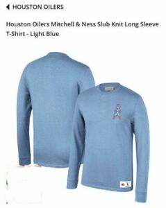 Houston Oilers Mitchell & Ness Slub Knit Long Sleeve T-Shirt Light Blue Size L