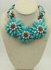 N14112907 blue turquoise FW pearl flower statement necklace earrings set