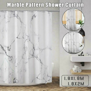 Waterproof Polyester Marble Pattern Shower Curtain 12 Hooks Bathroom Curtain