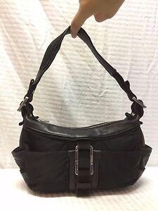 Furla Small Black Nylon Leather Purse Bag